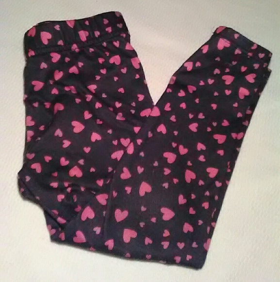 a94effecef2f2 jumping beans Bottoms   Silk Black And Pink Hearts Leggings   Poshmark